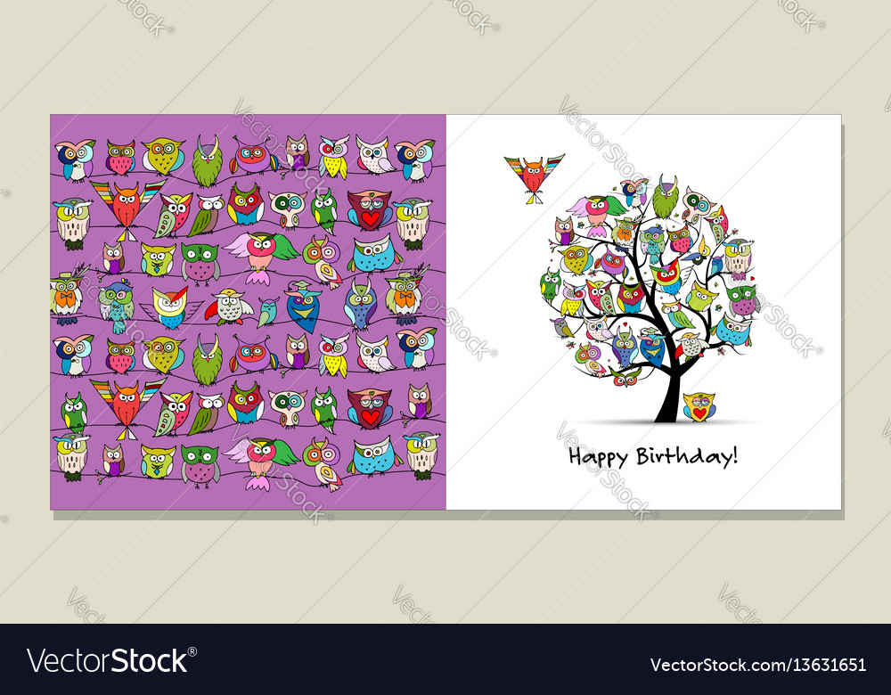 Greeting card design funny owls tree vector image