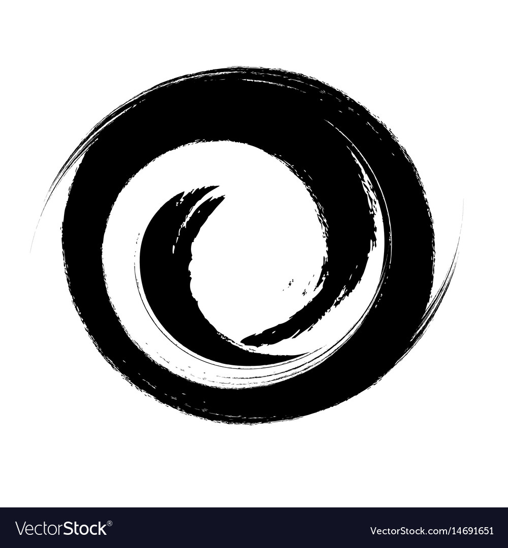 hand drawn with brush swirl spiral royalty free vector image