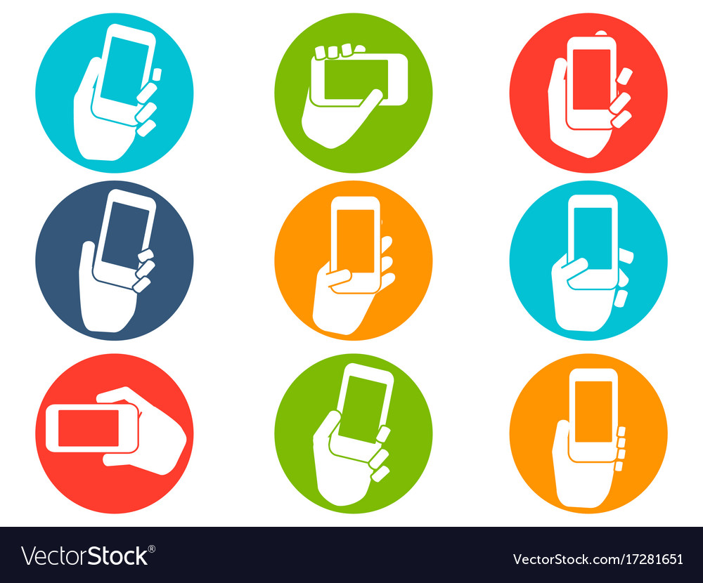 Hands holding mobile phone icons buttons set