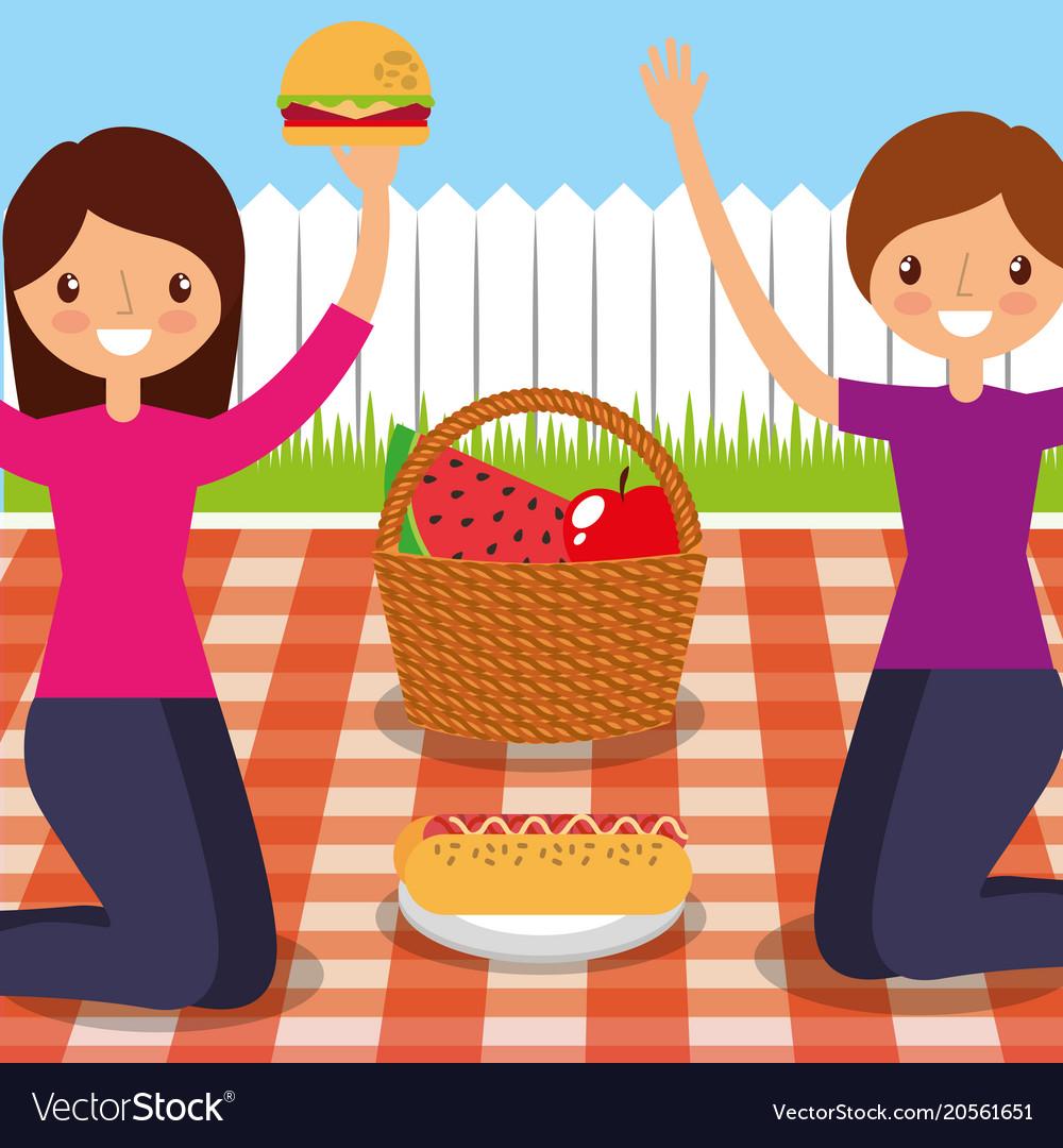 Happy people picnic