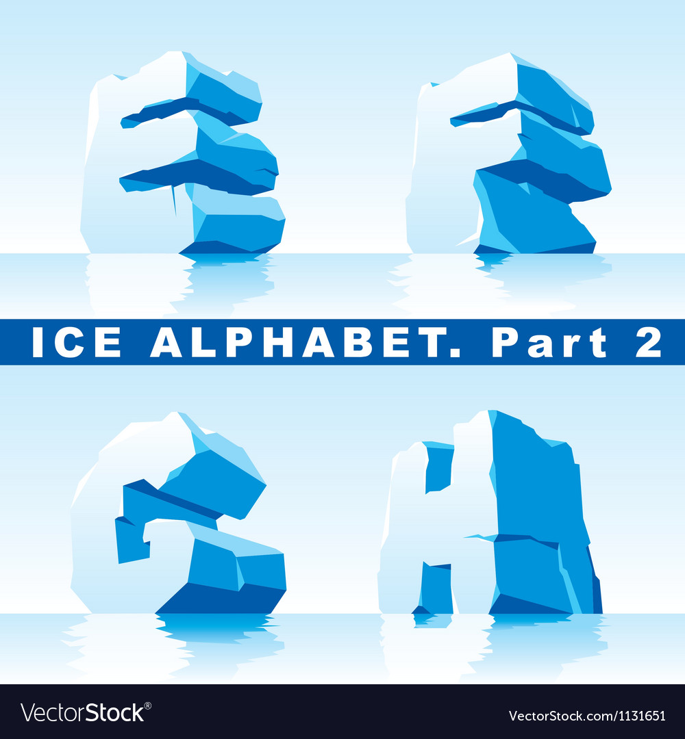 Ice alphabet part 2 vector image