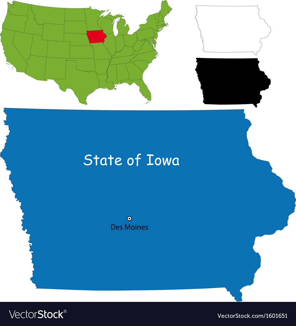Iowa On Usa Map.Iowa Map Royalty Free Vector Image Vectorstock