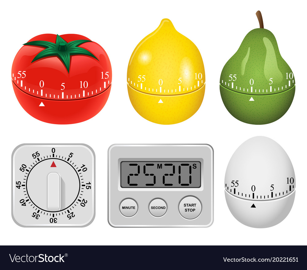Kitchen timer mockup set realistic style