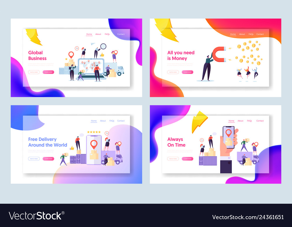 Online global world delivery concept landing page