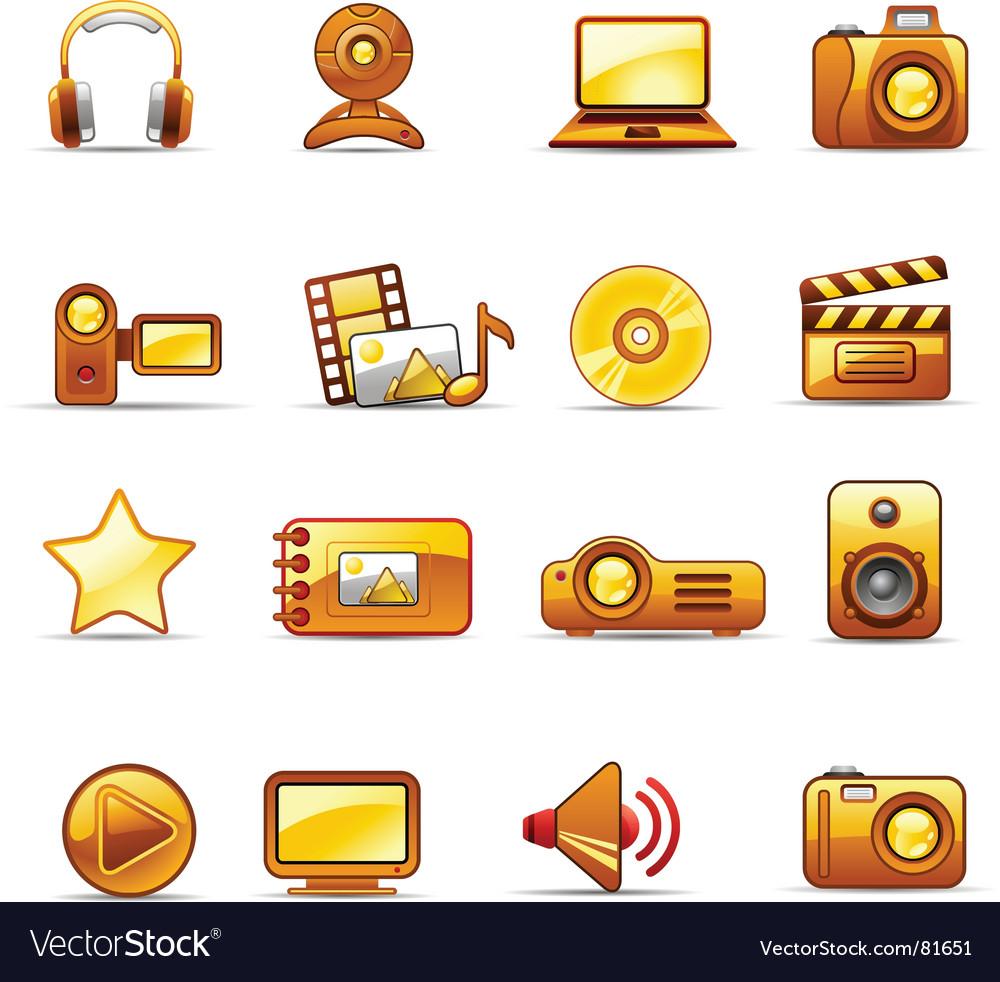 Photo and video orange vector image