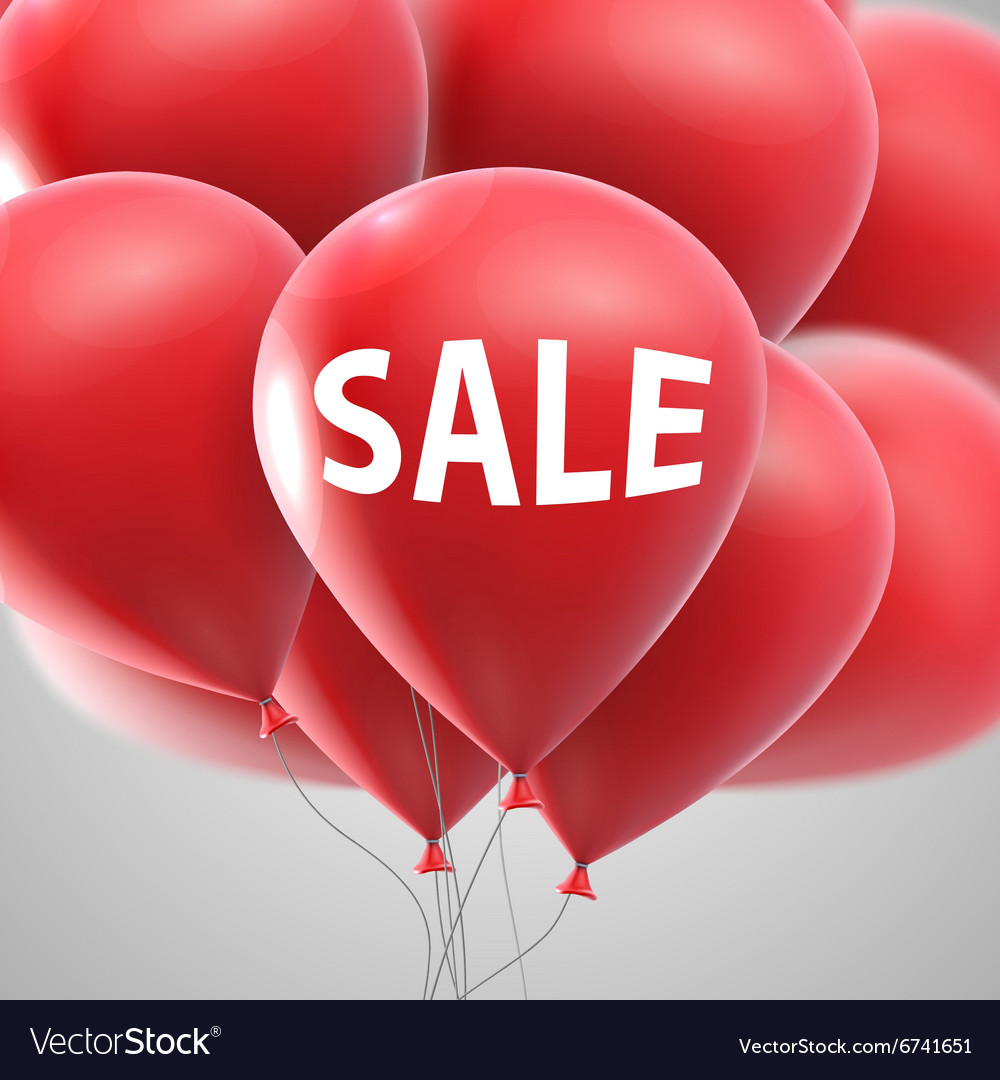 Sale label and flying balloon bunch