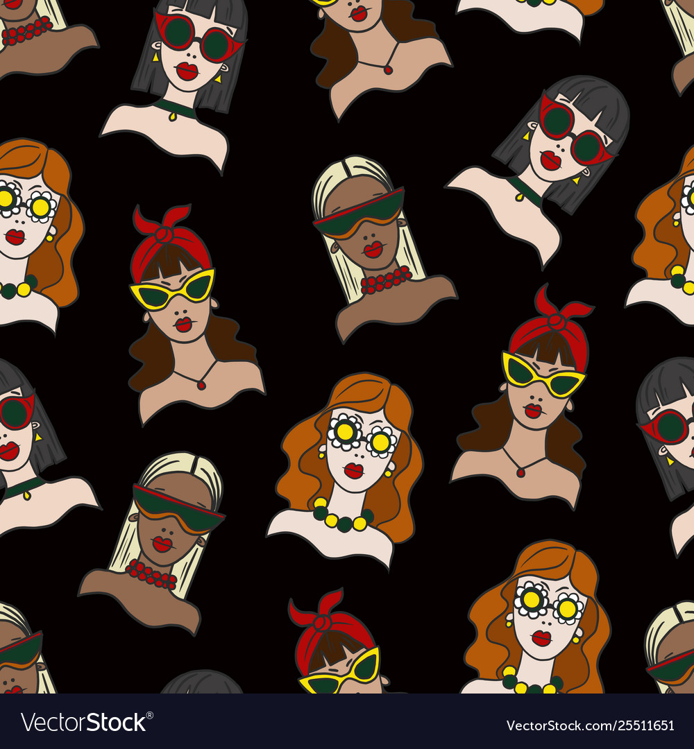 Seamless pattern with girls in sunglasses