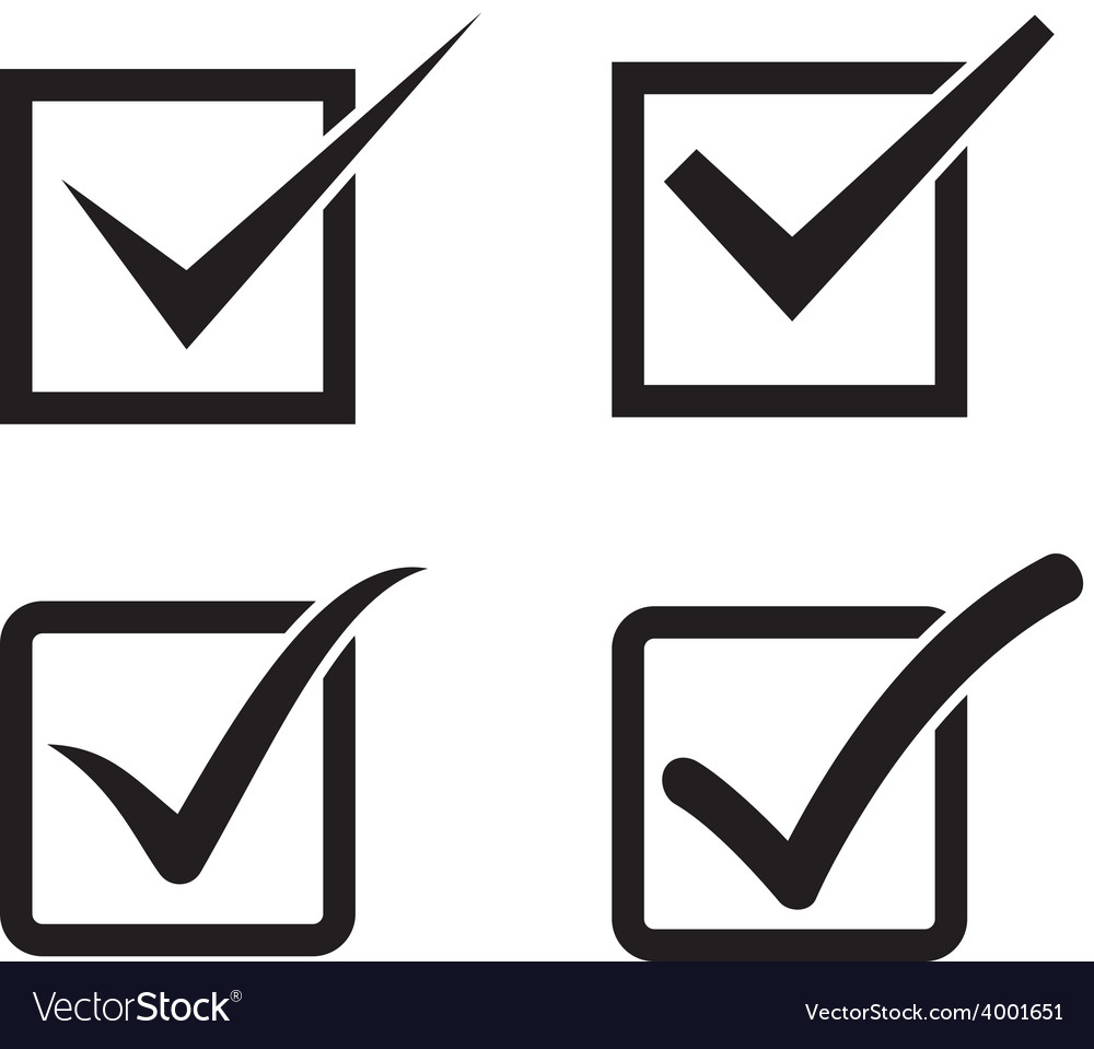 Set of check mark check box icons