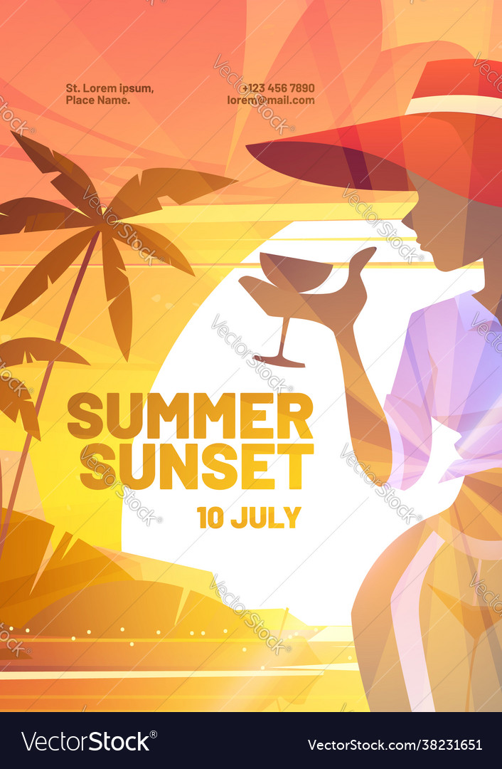 Summer sunset poster with silhouette woman