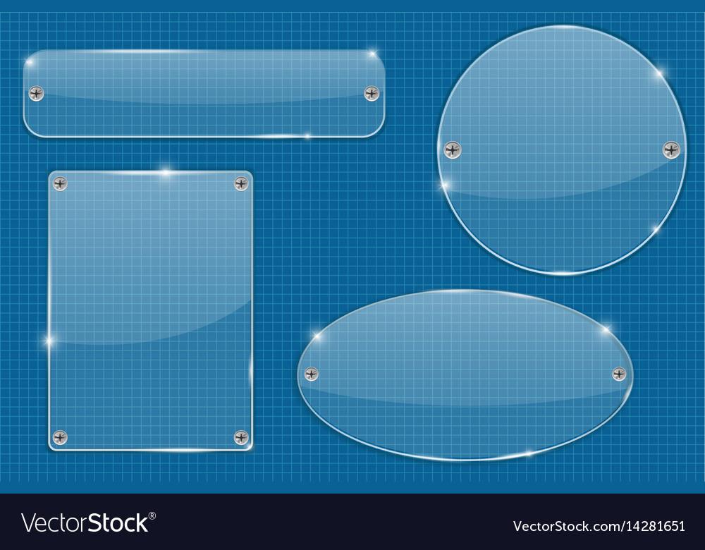 Transparent plate on blueprint grid