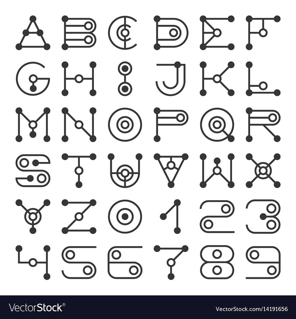 Alphabet letters based on geometric shape elements vector image
