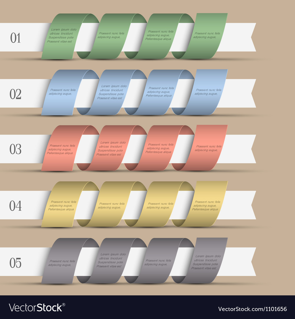 Five modern numbered ribbons banners vector image
