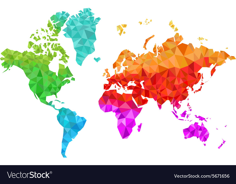 Geometric World Map In Colors Royalty Free Vector Image