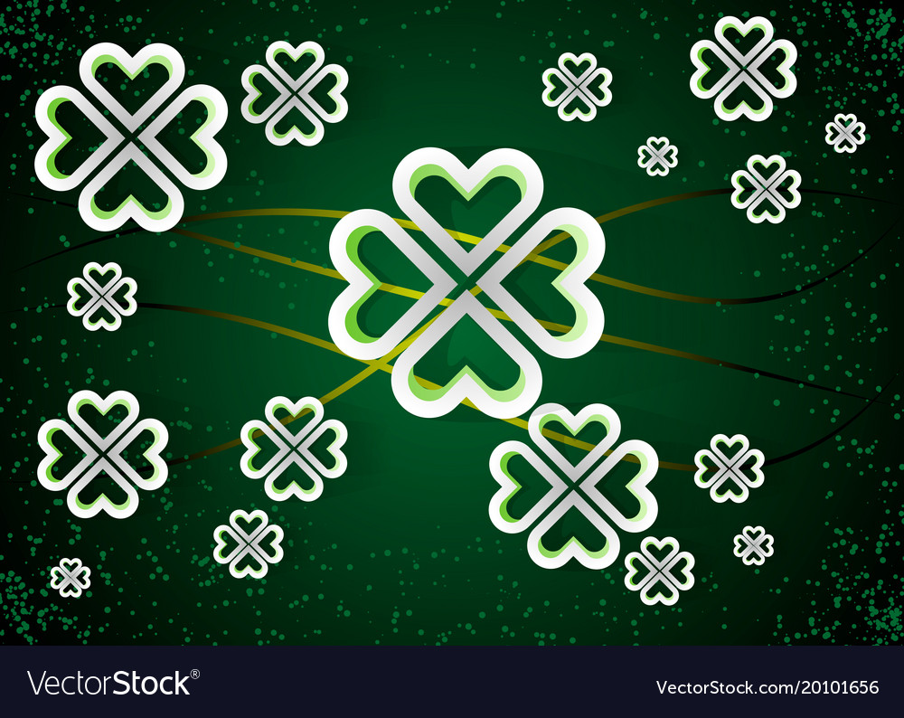 Green background with four leaf clovers st