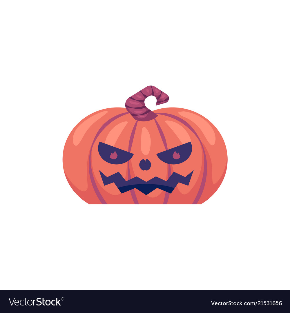 Halloween carved pumpkin with scary face emotion