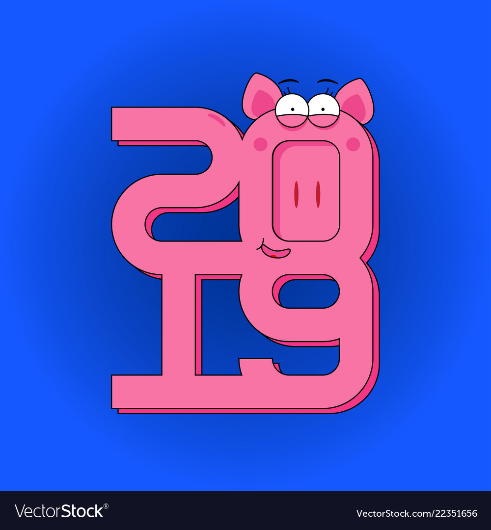 Happy new year - greeting card with pink pig and