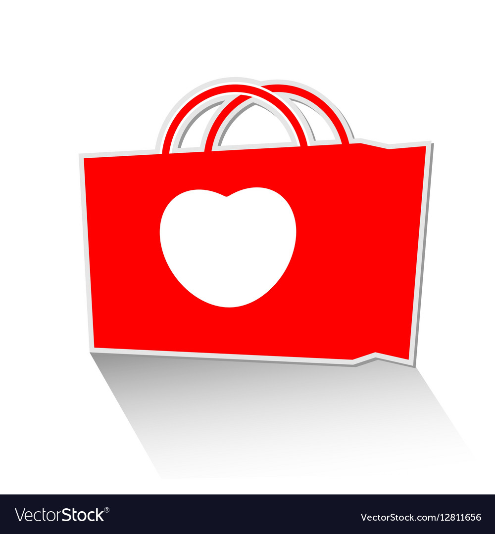 Heart with shopping bag icon