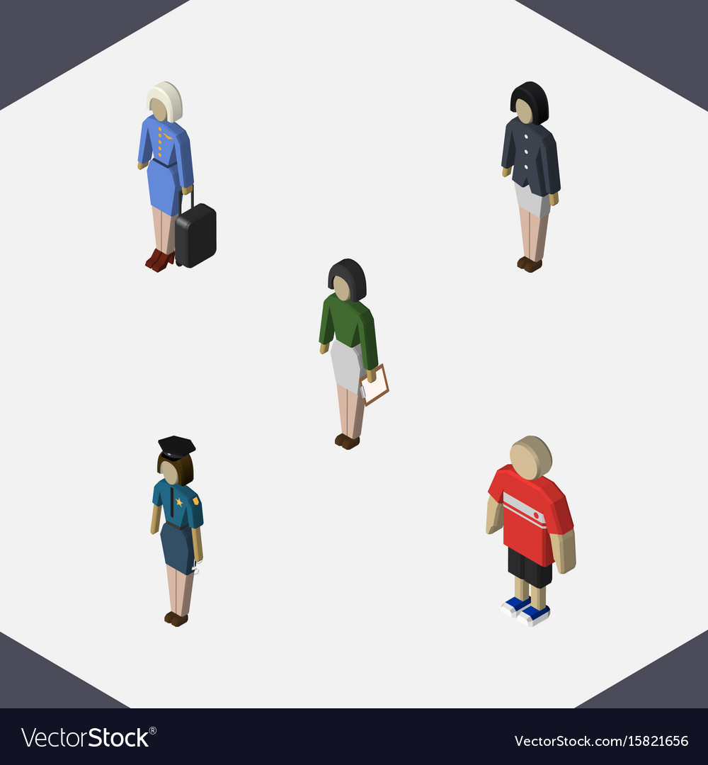 Isometric person set of pedagogue guy girl and