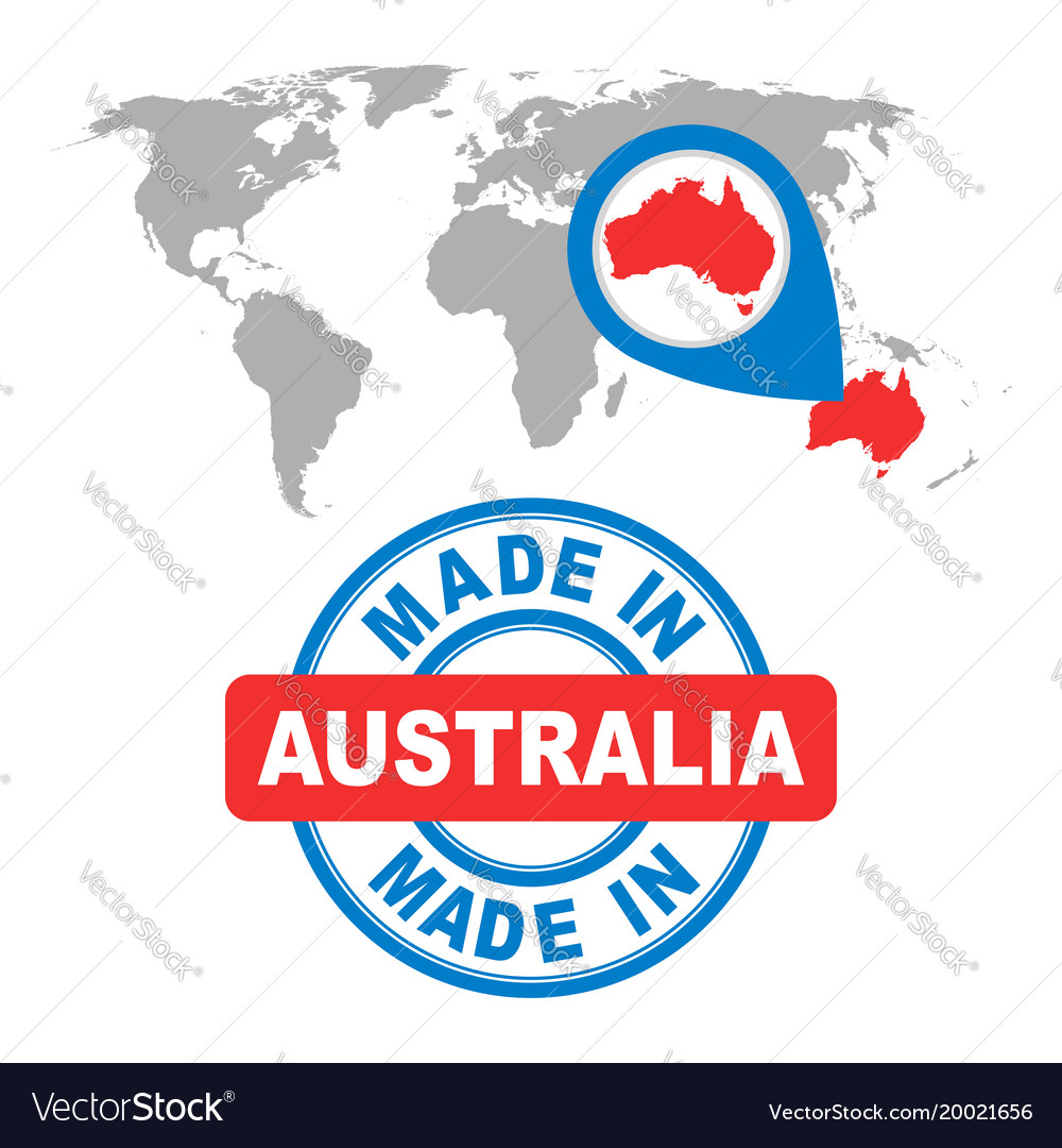Made in australia stamp world map with red vector image gumiabroncs Image collections
