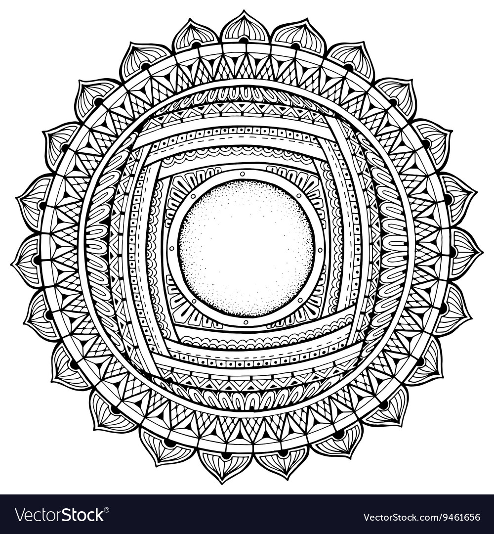 Mandala theme Floral wreath pattern with dots