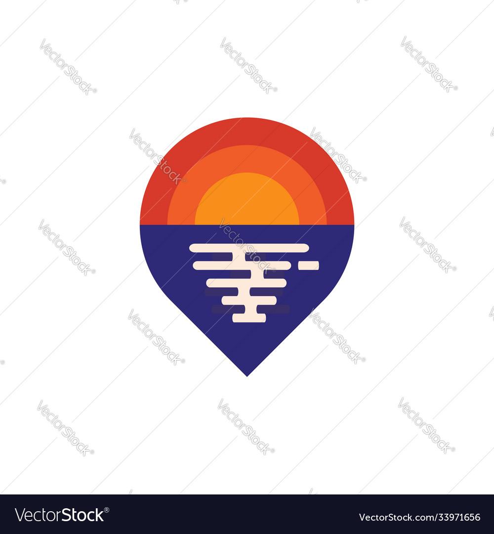 Ocean pin location logo design template