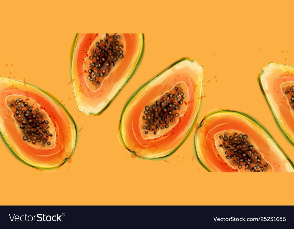 Papaya fruits watercolor summer fresh