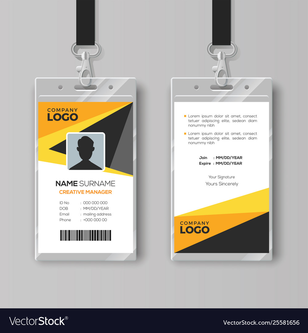 Professional Id Card Template With Yellow Details Vector Image