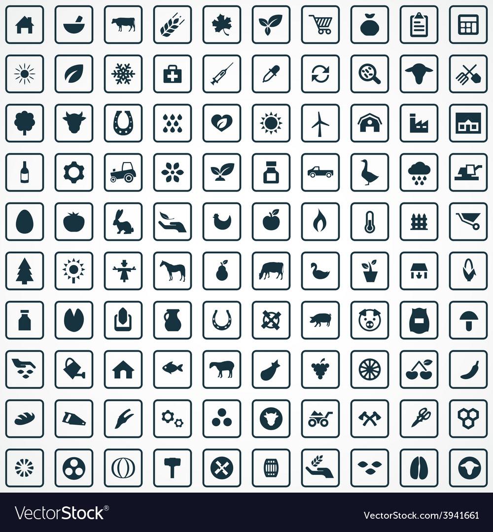 100 agriculture farm icons set