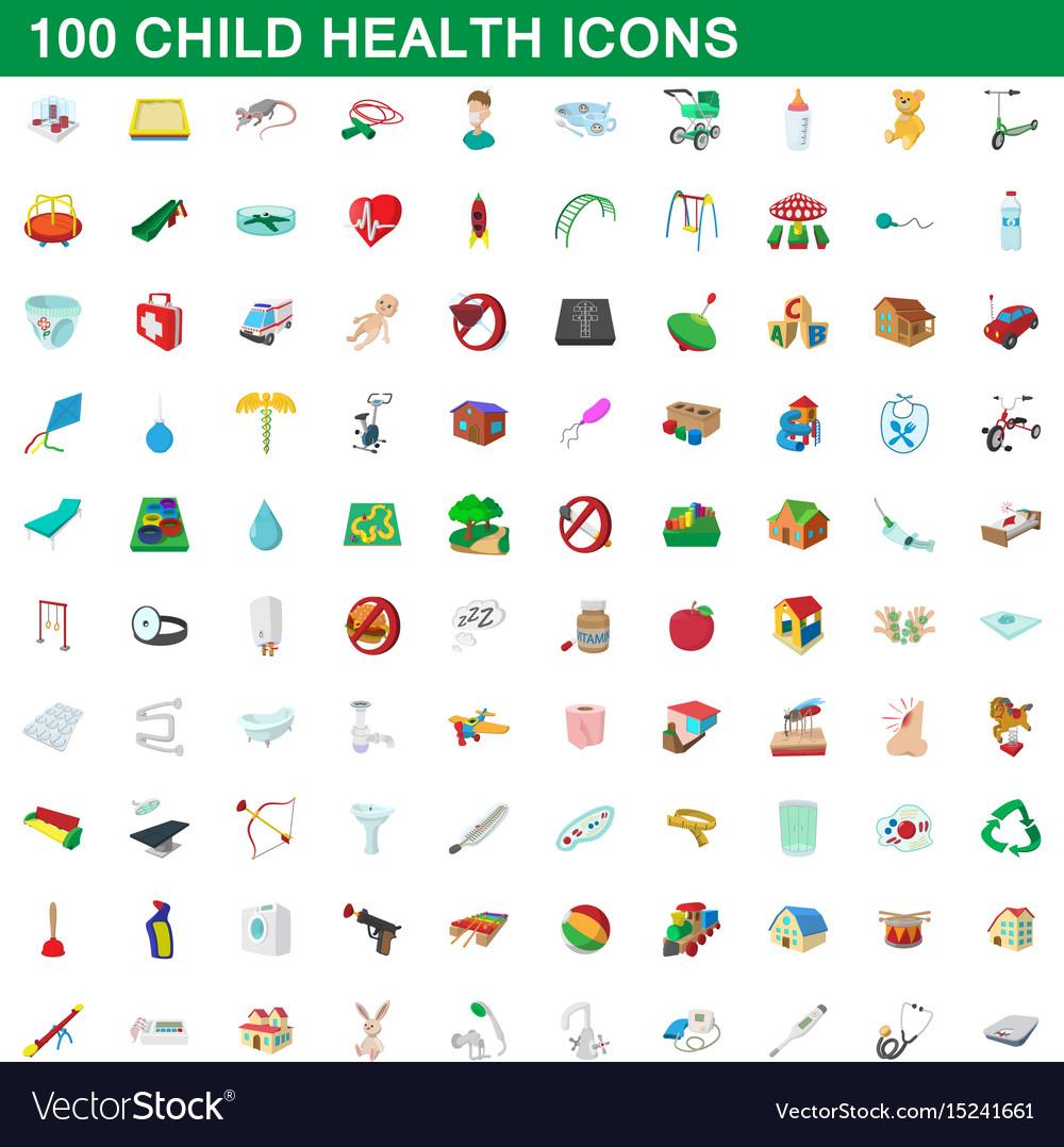 100 child health icons set cartoon style