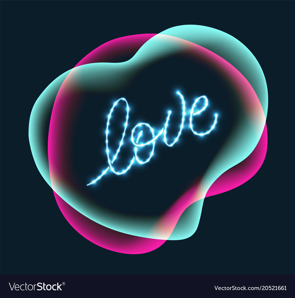 Abstract color with love lettering vector image