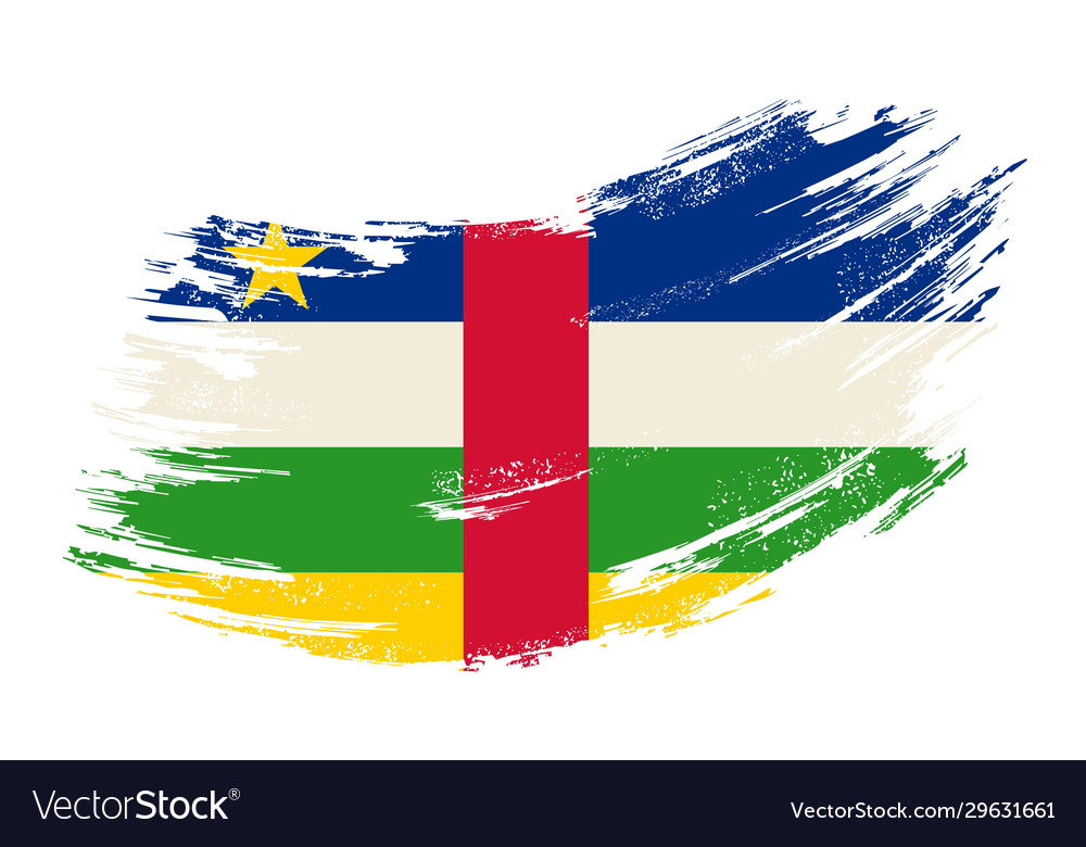 Central african republic flag grunge brush
