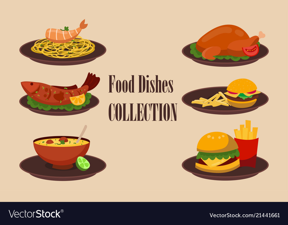 Collection of dishes soup salad pasta with