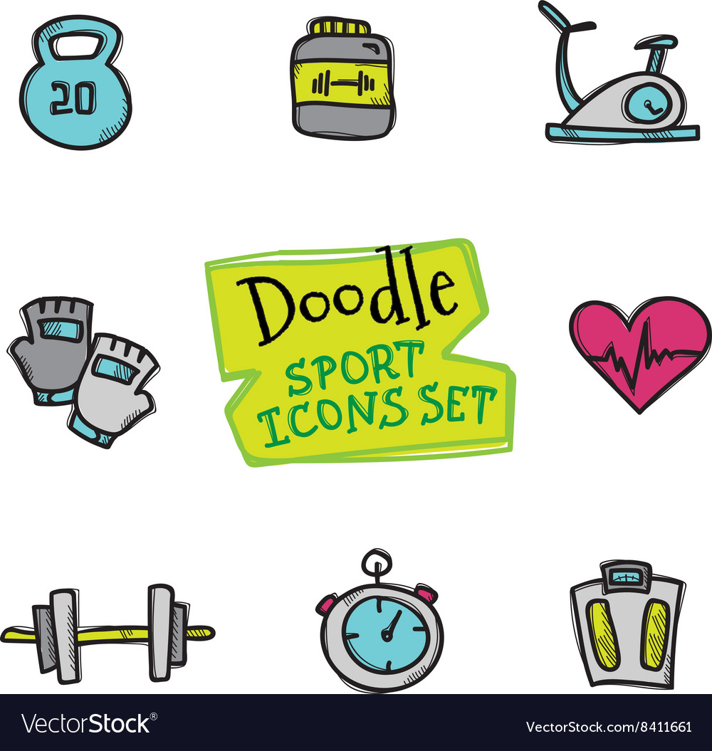 Doodle style line icons sports set Cute