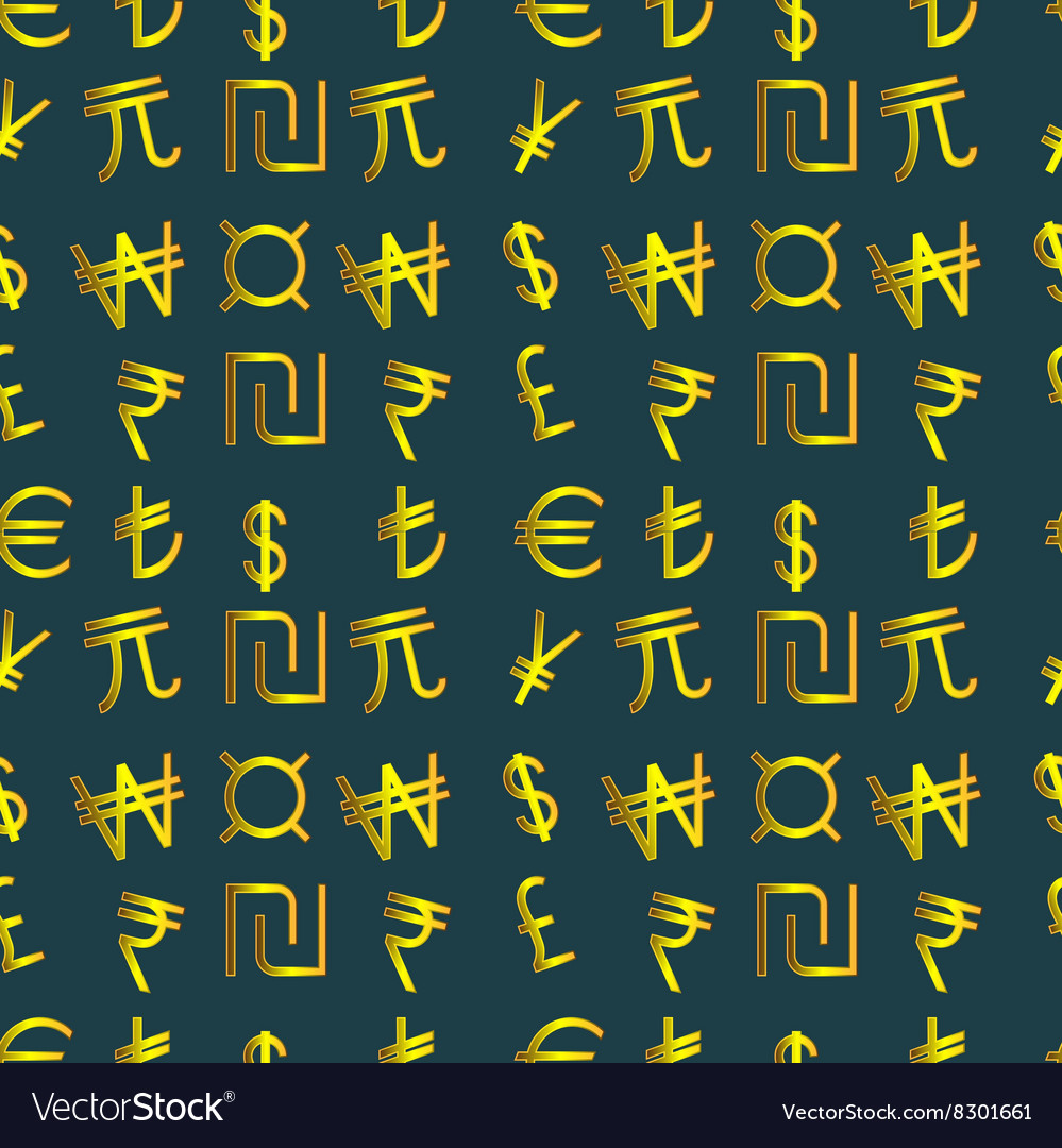 Golden currency symbols of the world vector image on VectorStock