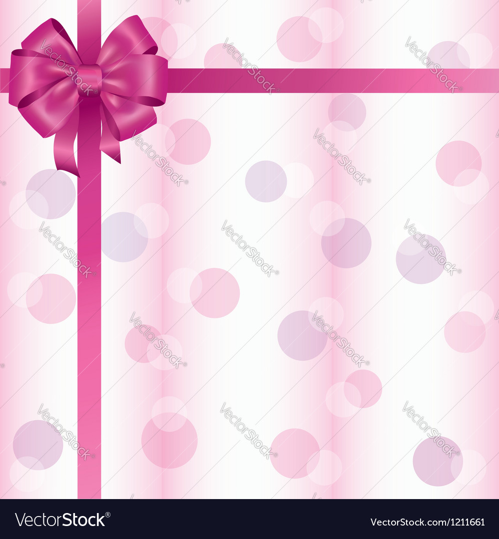 Greeting Or Invitation Card With Ribbon And Bow Vector Image