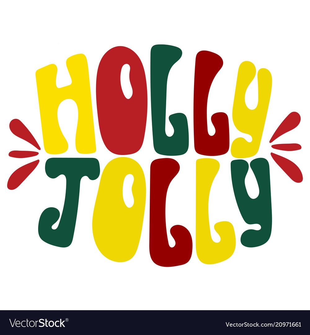 Hand-drawn typography poster - holly jolly
