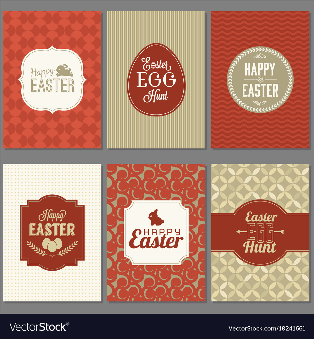 Happy easter greeting card set with frame