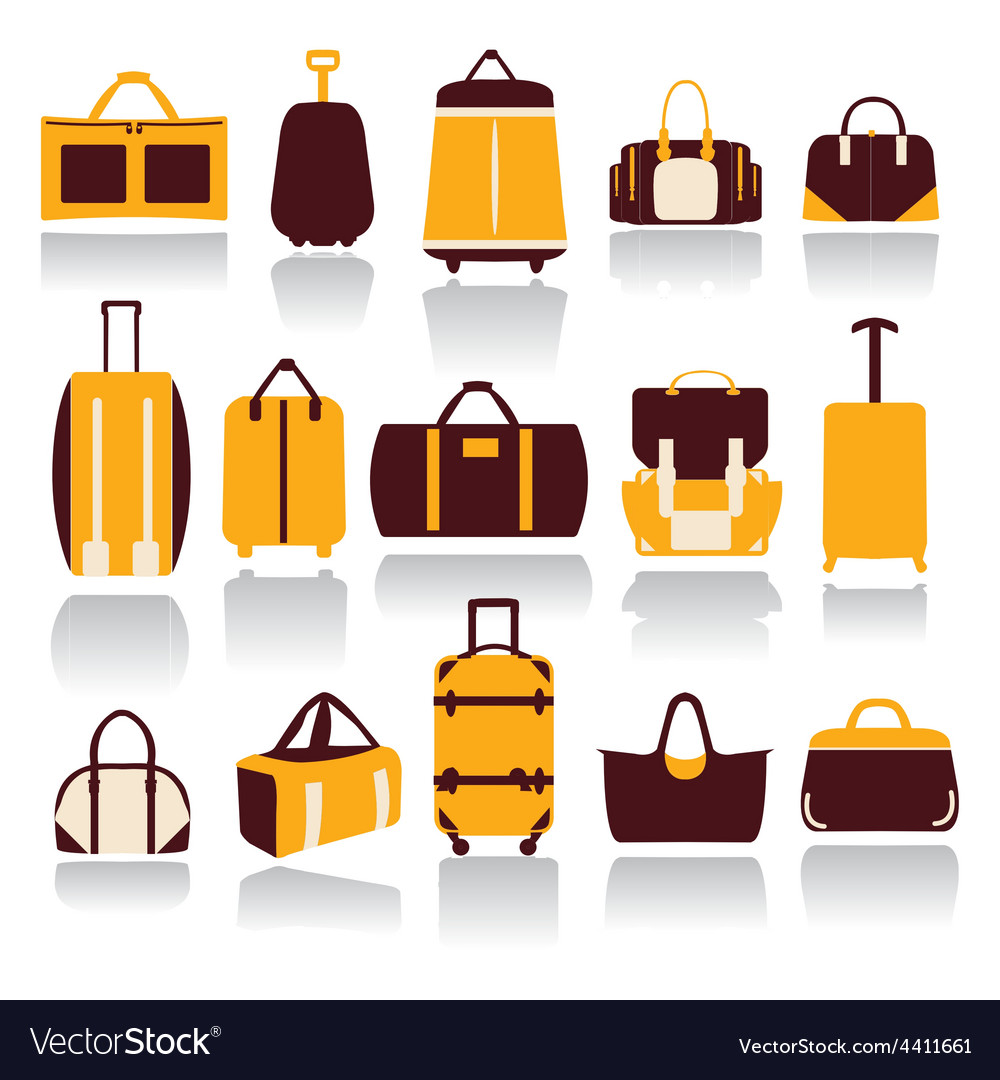 Icons set of Baggage theme Collection of Travel vector image