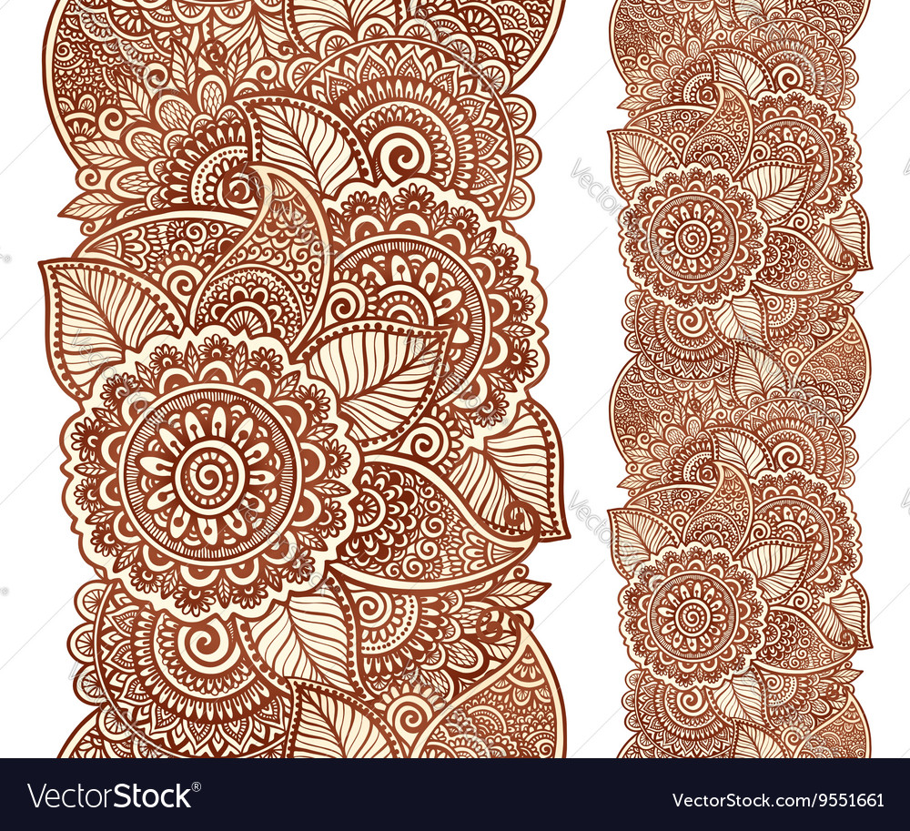 Indian henna tattoo style floral vertical
