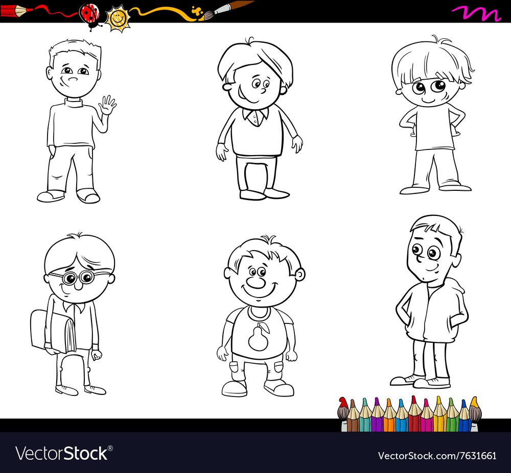 - Kid Boys Set Coloring Book Royalty Free Vector Image