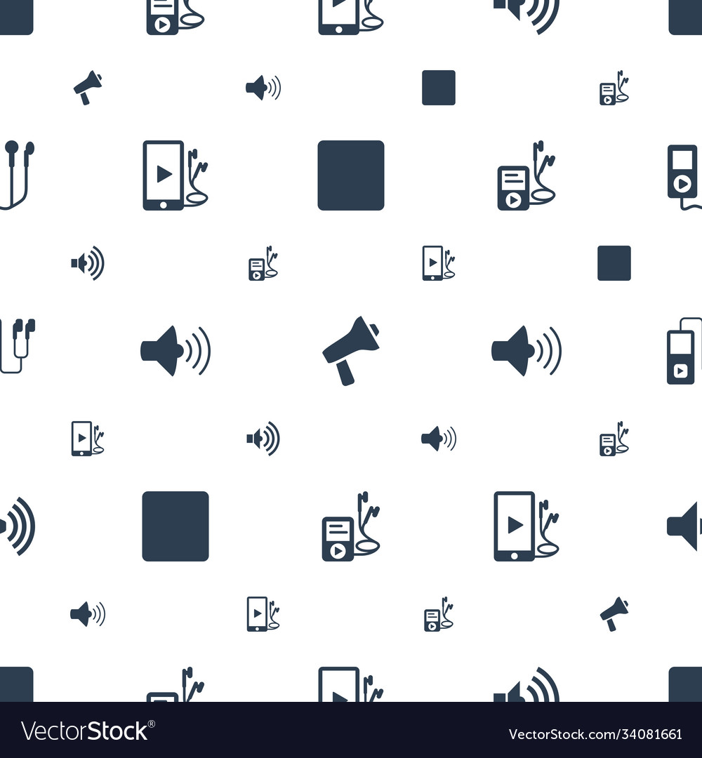 Mp3 icons pattern seamless white background