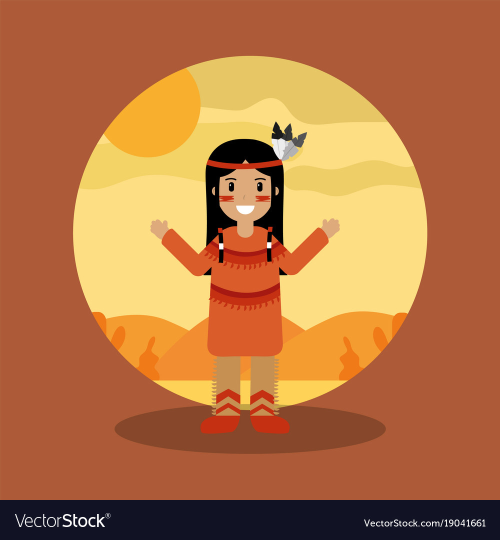 Native american indian character female with