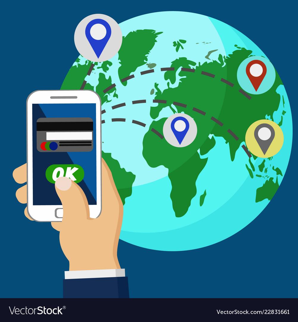 Online Money Transfer Via Phone All Over The World Vector Image