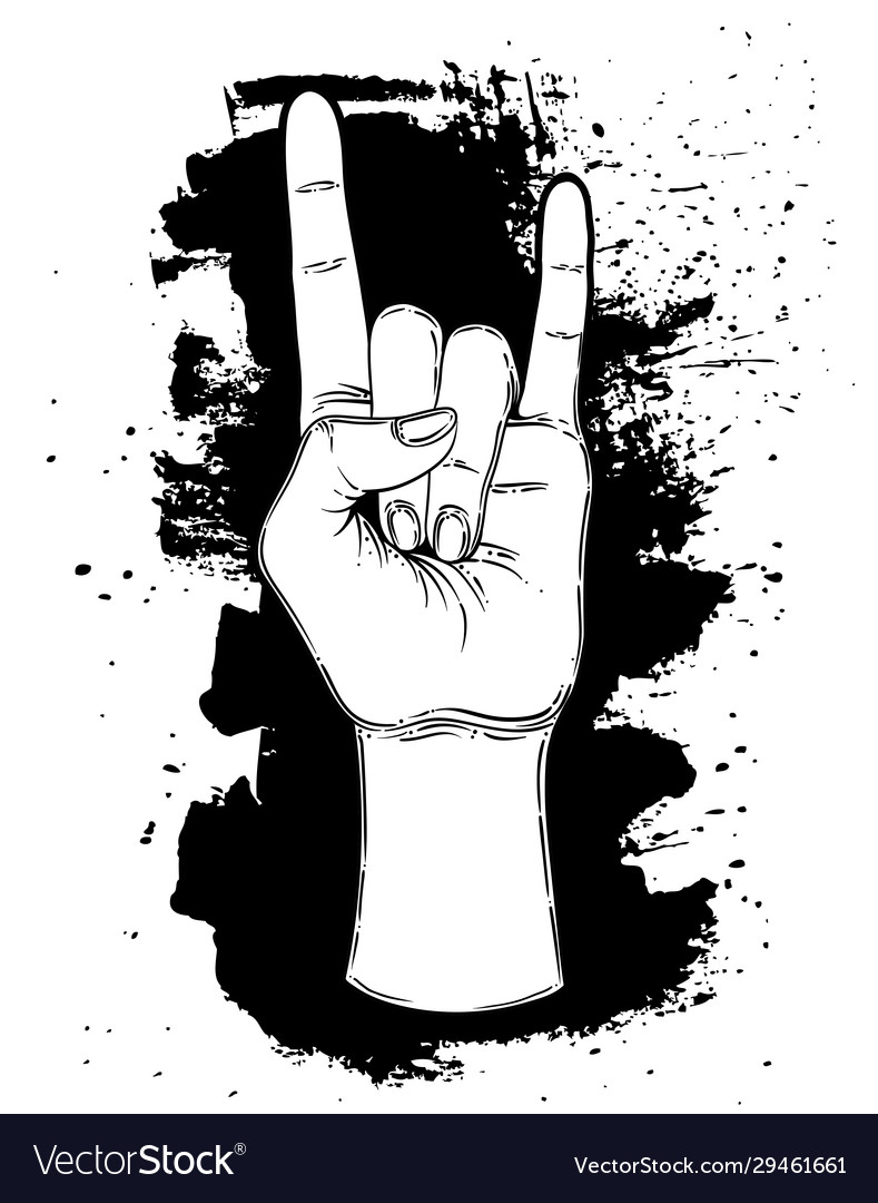 Rock and roll sign hand drawn of