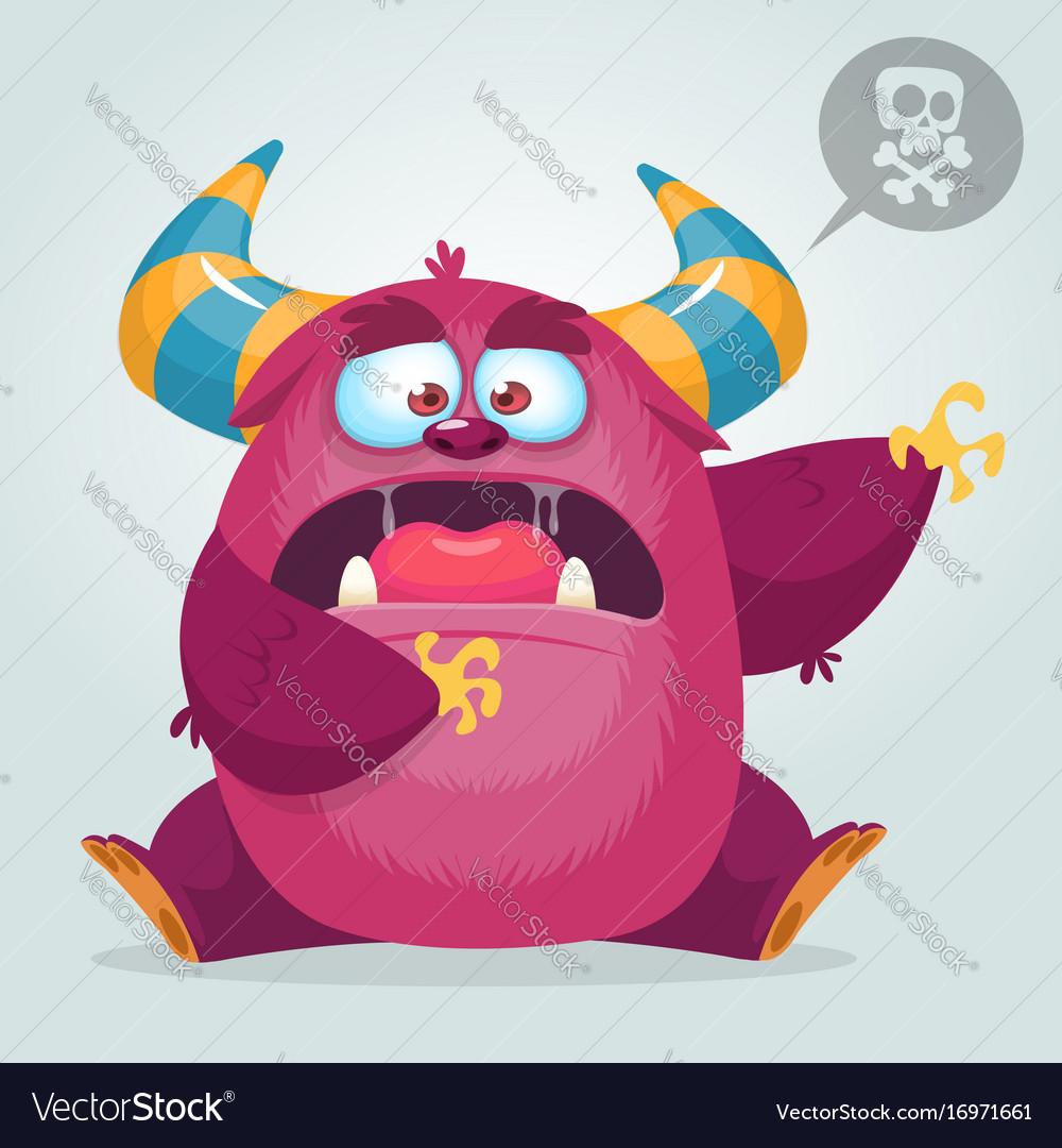 Scared cartoon pink monster waving