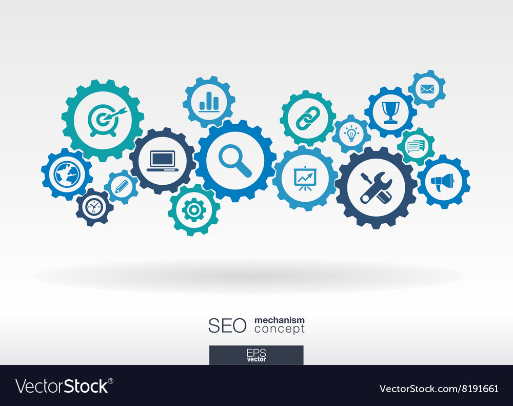 SEO mechanism concept Abstract background with vector image