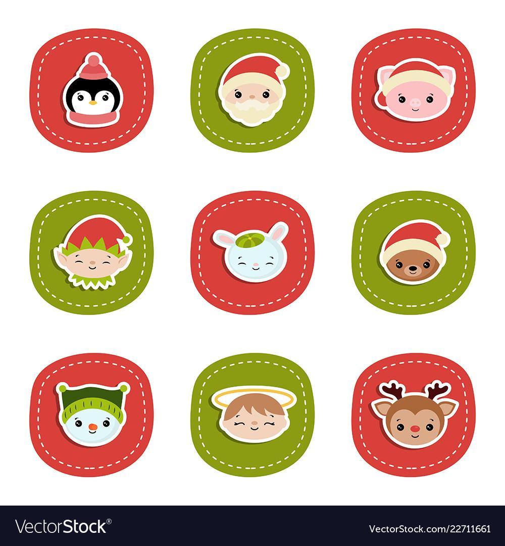 Set of christmas characters set of christmas