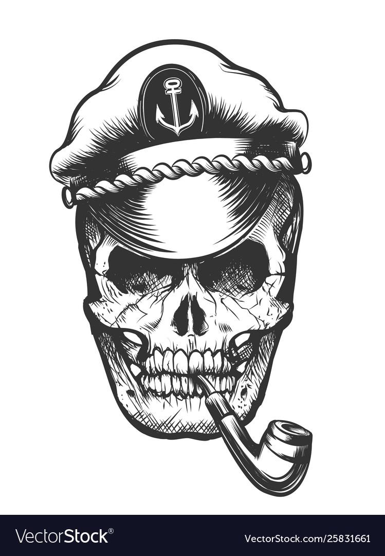 Skull in captain cap