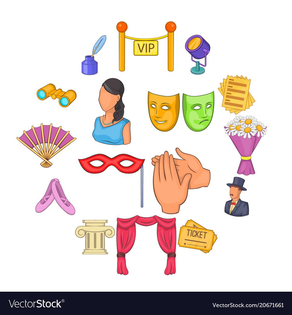 Theatre icons set cartoon style