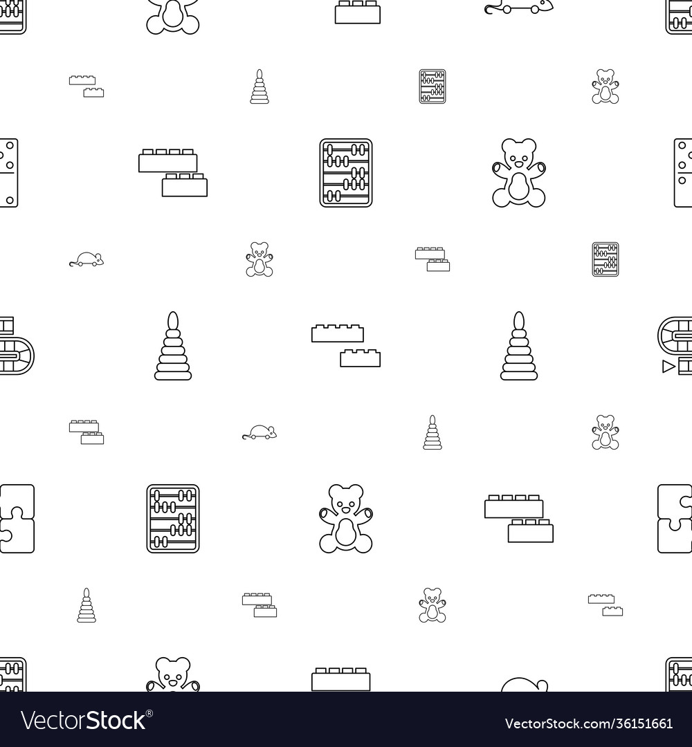 Toy icons pattern seamless white background